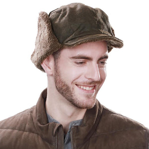 Trapper Hat Mens Fur Cap Faux Cap With Brim Winter Hats Men