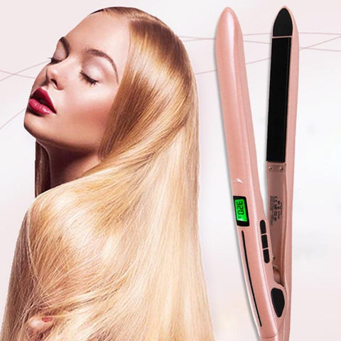 Flat Iron Curls 2 in 1 Pro Hair Styler Straightener Curly Wavy Straight Curl Straighten Magic Professional Silk Press Steam Straightening Travel