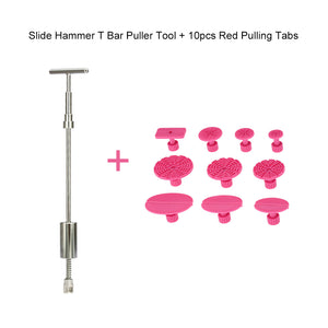 2-in-1 Two Ways Puller Slide Hammer Pull Rod Tabs Dent Suction Tools Hand of Cars Paintless Repair Puller Pulling Drawing Gasket Pad GlueTab Set