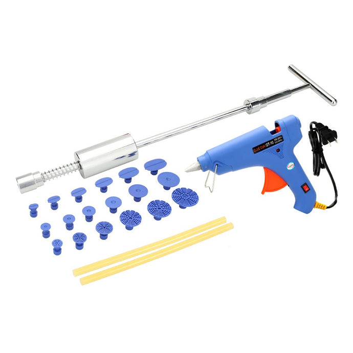Paintless Car Dent Repair Tool Kit Slide Hammer Puller Tabs +100-240V 100W Hot Melt Glue Gun with Glue Sticks