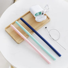 Load image into Gallery viewer, Portable Travel Silicone Collapsible Straws Reusable Folding Drinking Straw Tube Set with Case and Cleaning Brush for Kids Adult  250mm Length