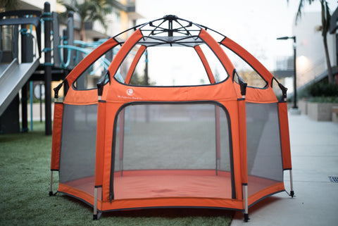 Pop N Go Playpen assembled outside