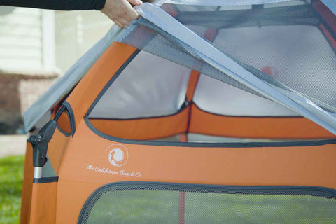UV Shade going on top of the lightweight play tent for kids