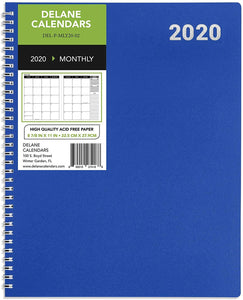 "2020 Annual Planner, PRE-ORDER, 8.5"" x 11"", Premium Paper, Monthly Design Blue Cover, Teacher and Student Planner, 18 Month"