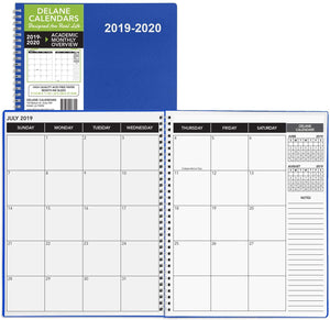 "2019-2020 Academic Planner, 8.5"" x 11"", Premium Paper, Monthly Blue Cover, Teacher and Student Planner, 18 Month"