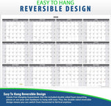 Annual 2020 Wall Calendar Laminated, 24 x 36 inches, 2-Sided Reversible Vertical/Horizontal, Mounting Tape Included (White)…