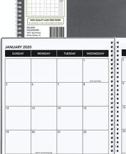 "2020 Annual Planner, 8.5"" x 11"", Premium Paper, Monthly Design Gray Cover, Teacher and Student Planner, 18 Month"