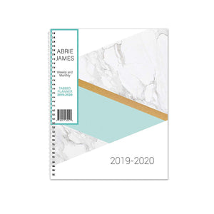 Abrie James Planner 2019-2020 Monthly Weekly Academic Planner, 8.5 x 11 inches, Marble Teal Student Planner