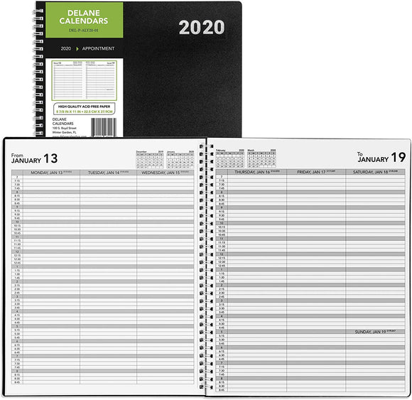 2020 Weekly Planner Appointment Book, PRE ORDER, 8.5 x 11 inches, Daily Hourly Planner Black …