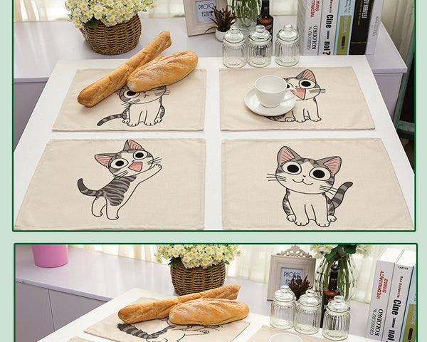 set  de table en lin coton motif chats mignon