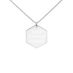 KEG Engraved Silver Hexagon Necklace