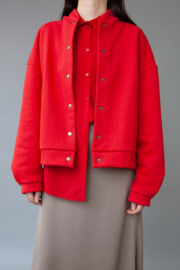 OVERSIZED BOMBER JACKET RED