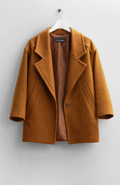MUSTARD WOOL SHORT COAT