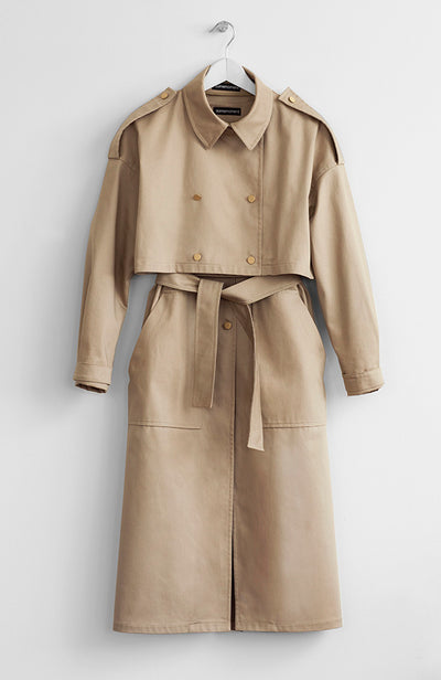 TWO-PIECE NUDE TRENCH COAT