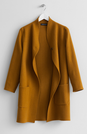 WOOL MUSTARD SWEATER COAT