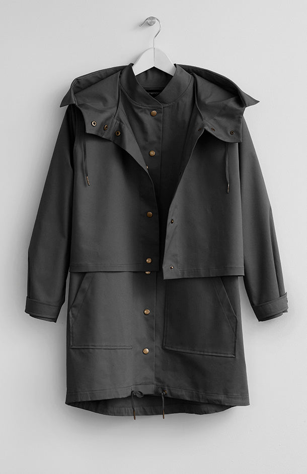 TWO-PIECE BLACK PARKA JACKET