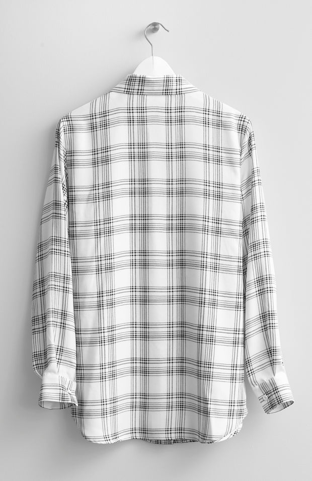 IVORY CHECKED VISCOSE BLOUSE