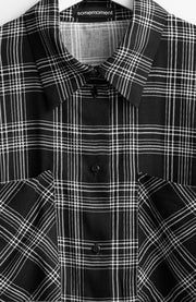 BLACK CHECKED VISCOSE BLOUSE