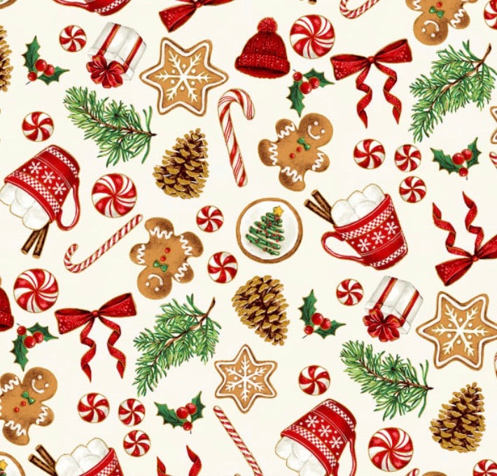 Santa's Sweets Natural (NOT TAKING ANYMORE ORDERS ON THIS FABRIC CURRENTLY)