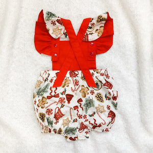 RM Santas Sweets Natural Playsuit with Ruffle Sleeves Size 1
