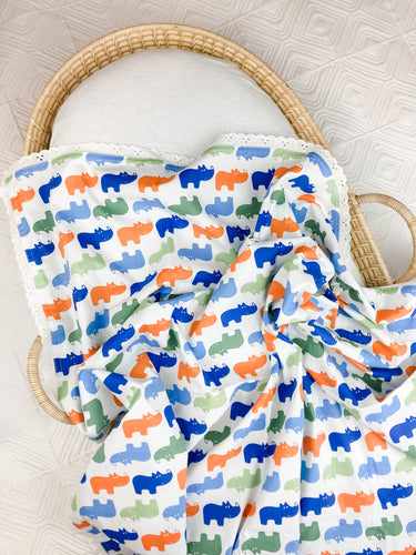 Rhino Party Cotton Swaddle