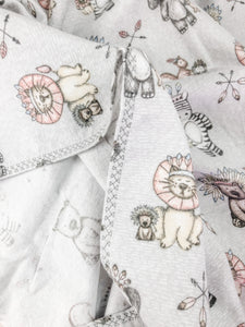 Tribal Grey Flannelette Swaddle