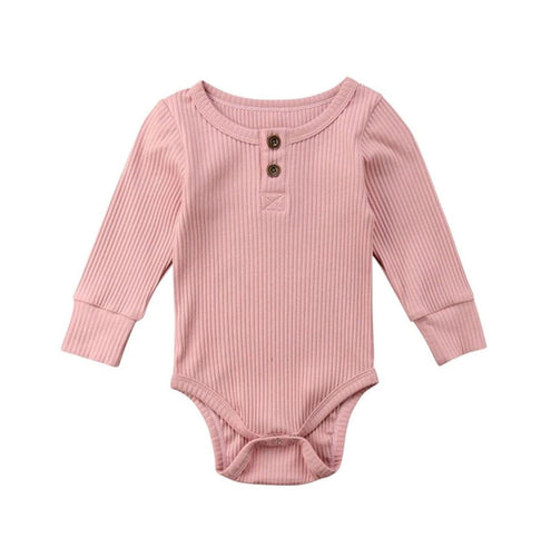 Ribbed Long Sleeve Romper - Dusty Pink