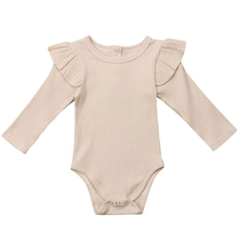 Ribbed Long Sleeve Ruffle Romper - Oatmeal