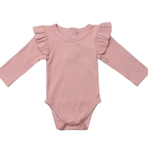 Ribbed Long Sleeve Ruffle Romper - Dusty Pink