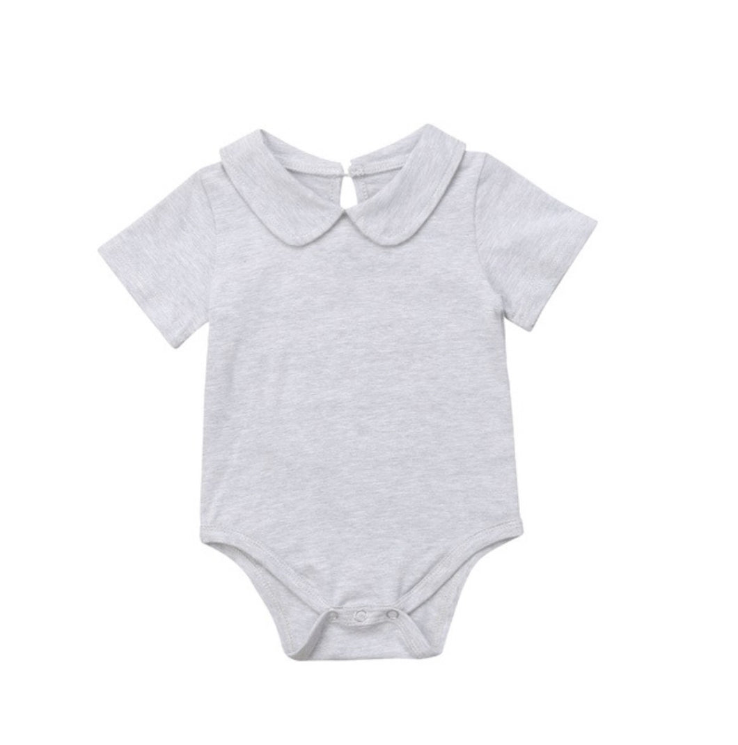 Peter Pan Collar Bodysuit - Grey