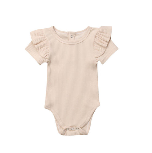 Ribbed Short Sleeve Ruffle Romper - Oatmeal