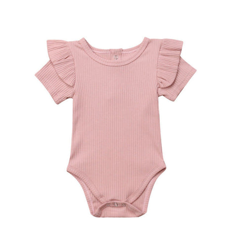 Ribbed Summer Ruffle Romper - Dusty Pink