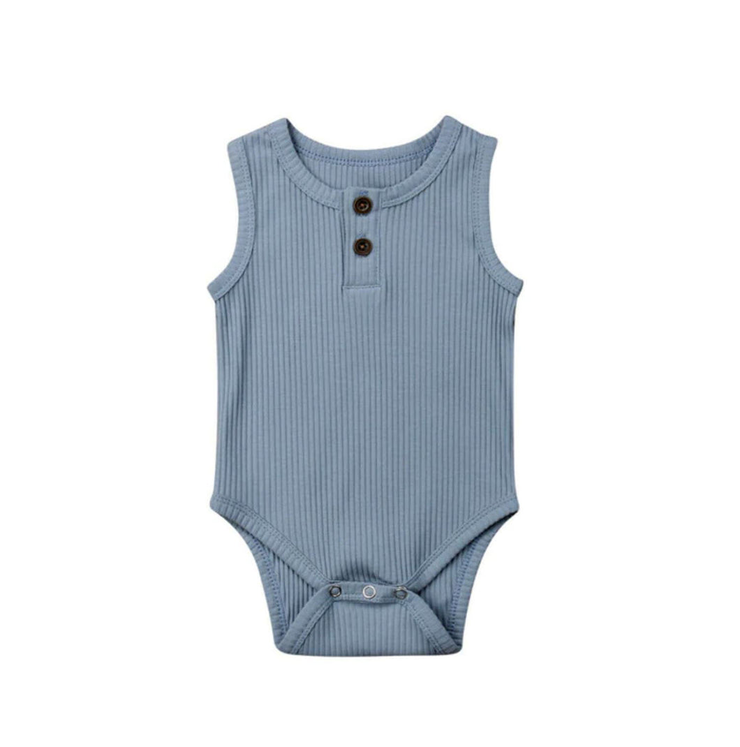Ribbed Singlet - Dusty Blue