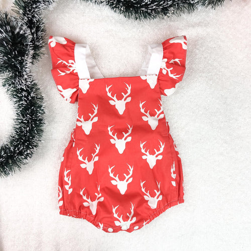 Dasher Red Vintage Romper with Ruffle Sleeves