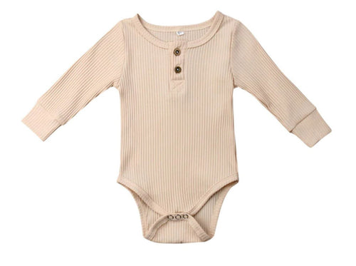 Ribbed Long Sleeve Romper - Oatmeal