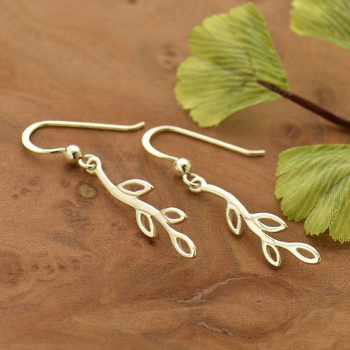 Silver Earrings with Small Openwork Branch
