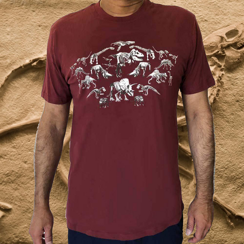 Adults' T-shirt Mirrored Dinosaur Fossils