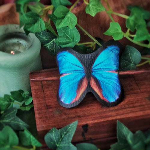 Hair Barrette Blue Morpho
