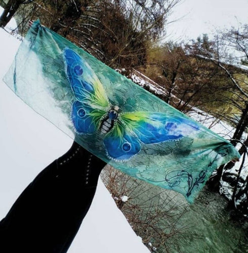 Scarf Blue-Green Butterfly