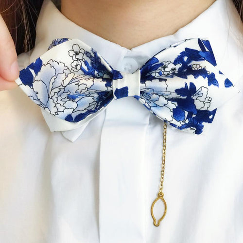 Silk Blue & White Porcelain Pointed BowTie