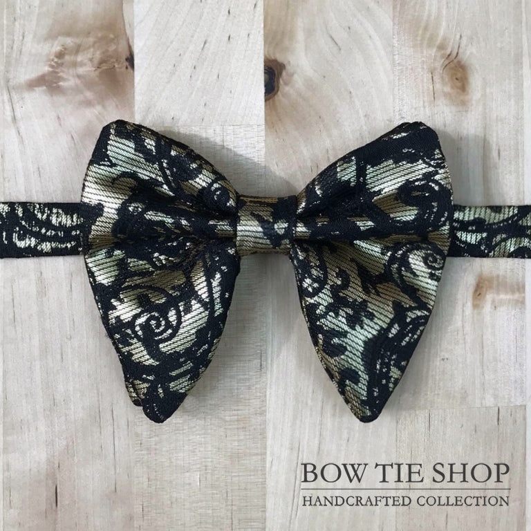 Gold Pattern Large Wing BowTie