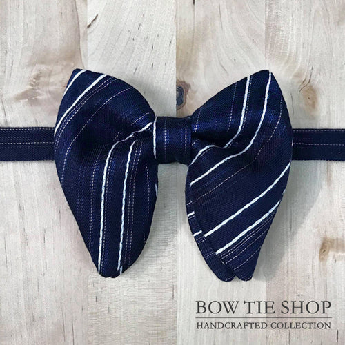 Navy Blue Striped Large Wing BowTie