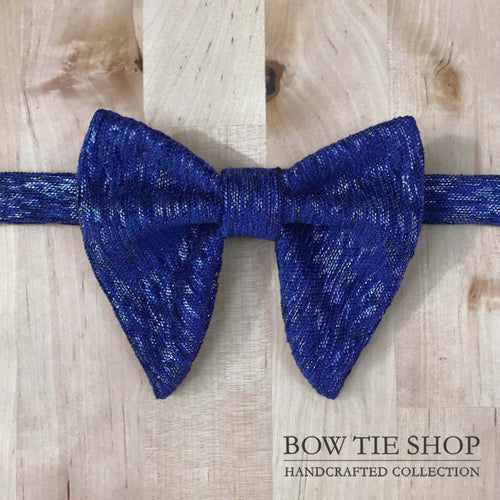 Shiny Blue Large Wing BowTie