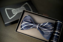 Load image into Gallery viewer, Navy Blue Striped Classic BowTie