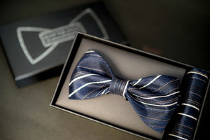 Navy Blue Striped Classic BowTie