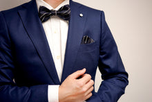 Load image into Gallery viewer, Navy Blue Striped Pocket Square