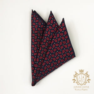 Ruby Floral w/ Navy Pocket Square
