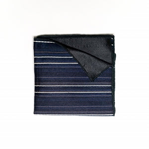 Navy Blue Striped Pocket Square