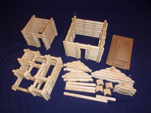 Load image into Gallery viewer, Log Cabin Building set, 220 pieces, handmade