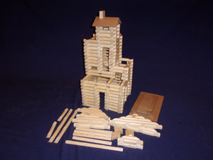 Log Cabin Building set, 220 pieces, handmade